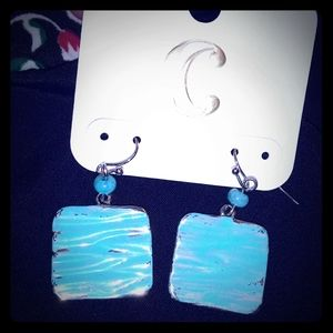 NWT turquoise / silvery Charming Charlie Earrings
